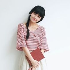 YARU - Elbow-Sleeve Striped T-Shirt