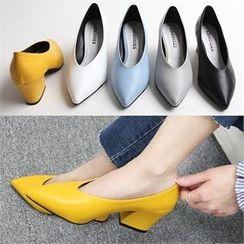 Reneve - Pointy-Toe Block-Heel Pumps