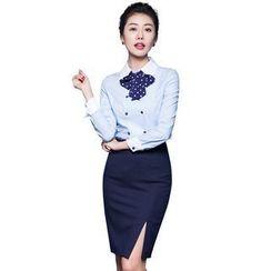 艾尚臣 - 套裝: 長袖襯衫 + 前開叉鉛筆短裙