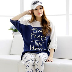 SHIRLEY - Pajama Set: Lettering Color Panel 3/4 Sleeve Top + Pants