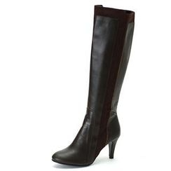 MODELSIS - Contrast-Trim Genuine Leather Boots