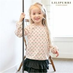 LILIPURRI - Girls Flora Print Button-Front Top