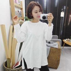 Seoul Fashion - Round-Neck Slit-Side Long T-Shirt