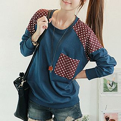 CLICK - Polka Dot Accent Sweatshirt
