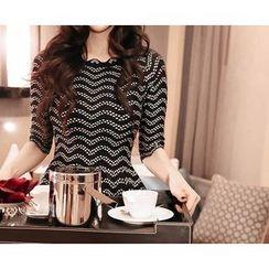 Marlangrouge - Elbow-Sleeve Patterned Mini Dress