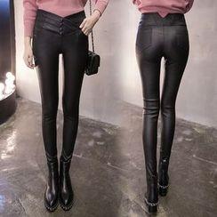 Enjoi - 人造皮窄身裤