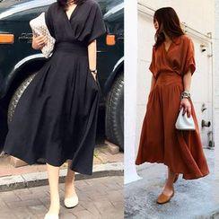 Finlo - Short-Sleeve V-Neck A-line Midi Dress