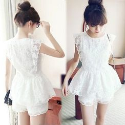 Athena - Set: Sleeveless Lace Top + Shorts