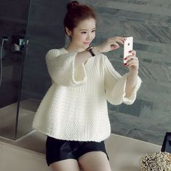 Munai - Bell-Sleeve V-Neck Cropped Sweater