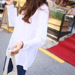 BONGJA SHOP - Round-Neck Long-Sleeve T-Shirt
