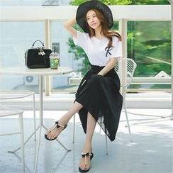 Styleonme - Detachable Suspender Chiffon Midi Skirt