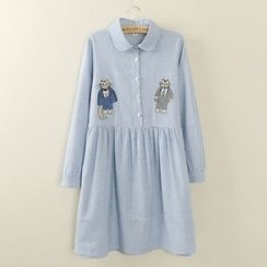 Tangi - Long-Sleeve Embroidered Dress