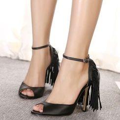 Monde - Fringed Ankle Strap High Heel Sandals