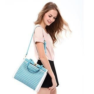 Axixi - Faux-Leather Bow-Accent Perforated Tote