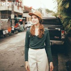 MOFFI - 条纹V领长袖T恤