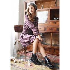 GOROKE - Smocked-Waist Printed Mini Dress