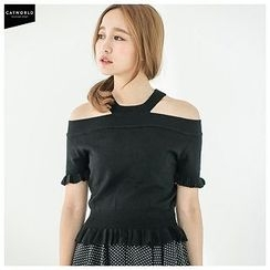CatWorld - Cutout-Shoulder Frilled Knit Top