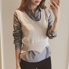 Ashlee - 套裝: 長袖襯衫 + 短款無袖上衣