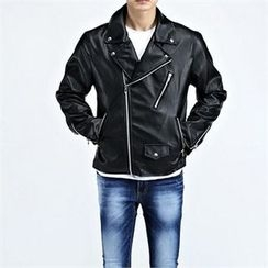 THE COVER - Faux-Leather Biker Jacket