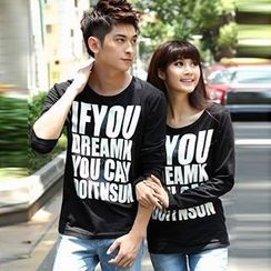Igsoo - Couple Long-Sleeve Lettering T-Shirt