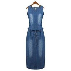 Neeya - Tie Waist Sleeveless Denim Dress