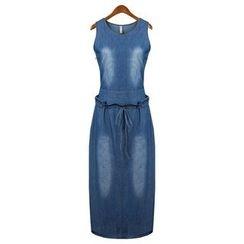 Neeya - 腰結帶無袖牛仔連衣裙