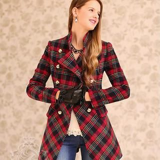 Dabuwawa - Mandarin-Collar Double-Breasted Plaid Coat