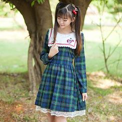 GOGO Girl - Embroidered Collar Long-Sleeve Plaid Dress