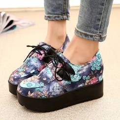 Simply Walk - Print Lace-Up Platform Shoes