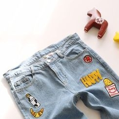 Bonbon - Embroidered Washed Jeans