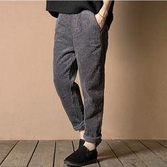 Ranche - Elastic Waist Straight Leg Corduroy Pants