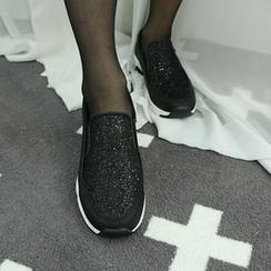 Dodostyle - Glittered Platform Slip-Ons