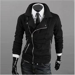 WIZIKOREA - 不對稱拉鍊夾克