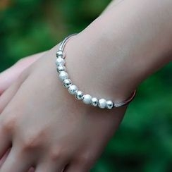 Kitty Kiss - 925 Sterling Silver Beaded Bangle