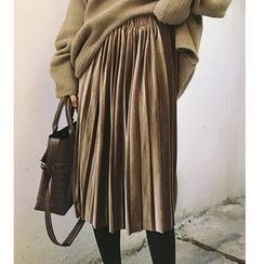时尚麻豆家 - 打褶绒质中裙