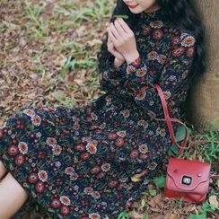 trendedge - Floral Print Long-Sleeve Dress