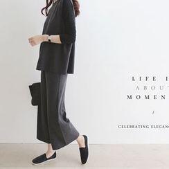DAILY LOOK - Set: Sleeveless Wool Blend Top + Band-Waist Pants
