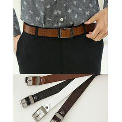 STYLEMAN - Patterned Faux-Leather Belt