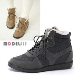 MODELSIS - Faux-Fur Trim Lace-Up Ankle Boots