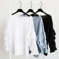 NANING9 - Frilled-Sleeve Top