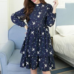 Carna - Maternity Floral Print Long Sleeve Chiffon Dress