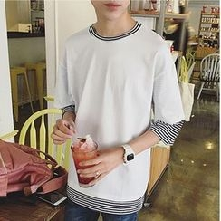 JUN.LEE - Mock Two-piece Stripe 3/4-Sleeve T-shirt