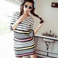 BaseZoo - Set: Color-Block Knit Top + Skirt