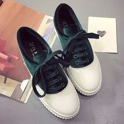 Shoeland - Two-Tone Platform Sneakers