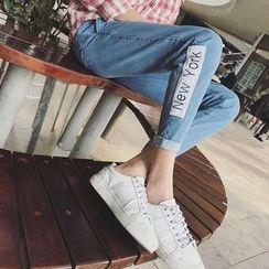 子俊 - 字母贴布绣牛仔裤