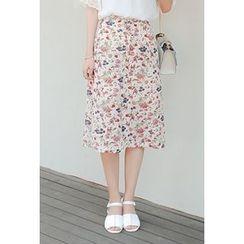 Cherryville - Floral Print Midi Skirt