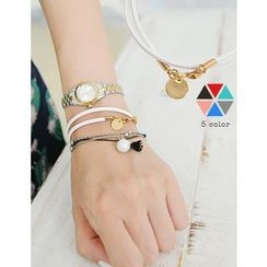 soo n soo - Disc Charm Faux-Leather Bracelet