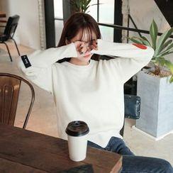 Seoul Fashion - Cutout-Hem Patch Wool Blend Knit Top