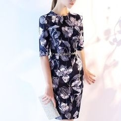 Royal Style - Floral Print Elbow-Sleeve Cocktail Dress