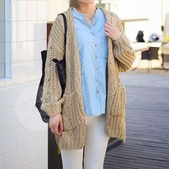 FR - Cable Knit Open Front Cardigan